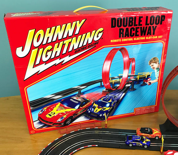 Johnny Lightning 24' Double Loop Raceway Remote Control Electric 1:43 Scale Slot Race Set | JLRS001 | Auto World | EXCLUSIVE-Toys & Hobbies:Slot Cars:1/43 Scale:1970-Now-ProTinkerToys.com