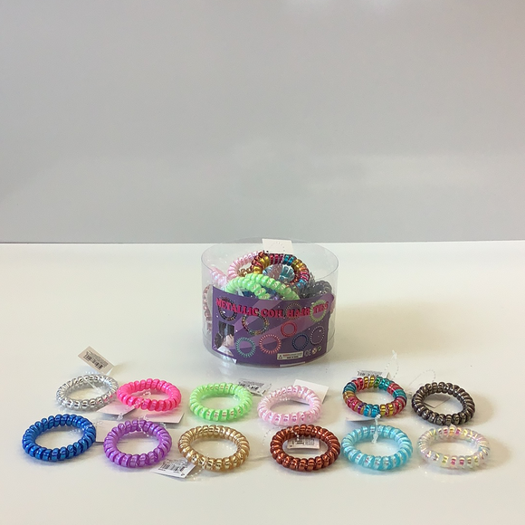 Metallic and rainbow color coil hair ties-IMEX-ProTinkerToys