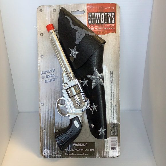 American Western Silver Pistol Revolver with Holster | 656 | Parris Toys-Toys & Hobbies:Vintage & Antique Toys:Cap Guns:Diecast-ProTinkerToys.com