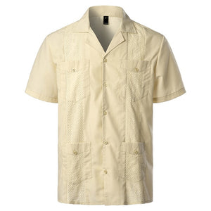 Men's Traditional Cuban Camp Collar Guayabera Shirt Short Sleeve Embroidered Mexican Caribbean Style Beach Shirt with 4 Pocket