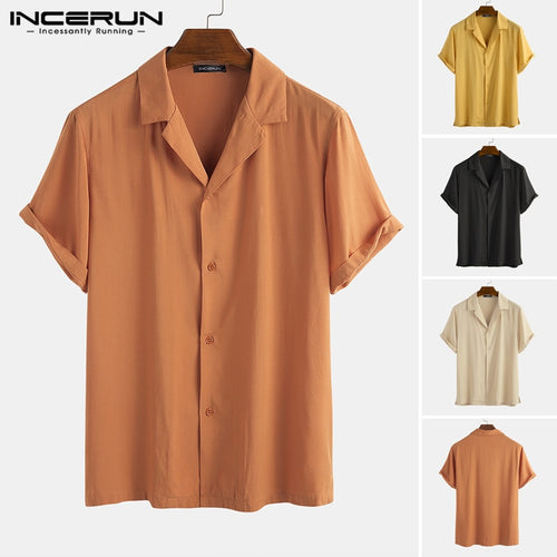 Summer Cotton Men Casual Shirt Lapel Solid Color Short Sleeve Camisas Streetwear Breathable 2020 Brand Men Basic Shirts INCERUN