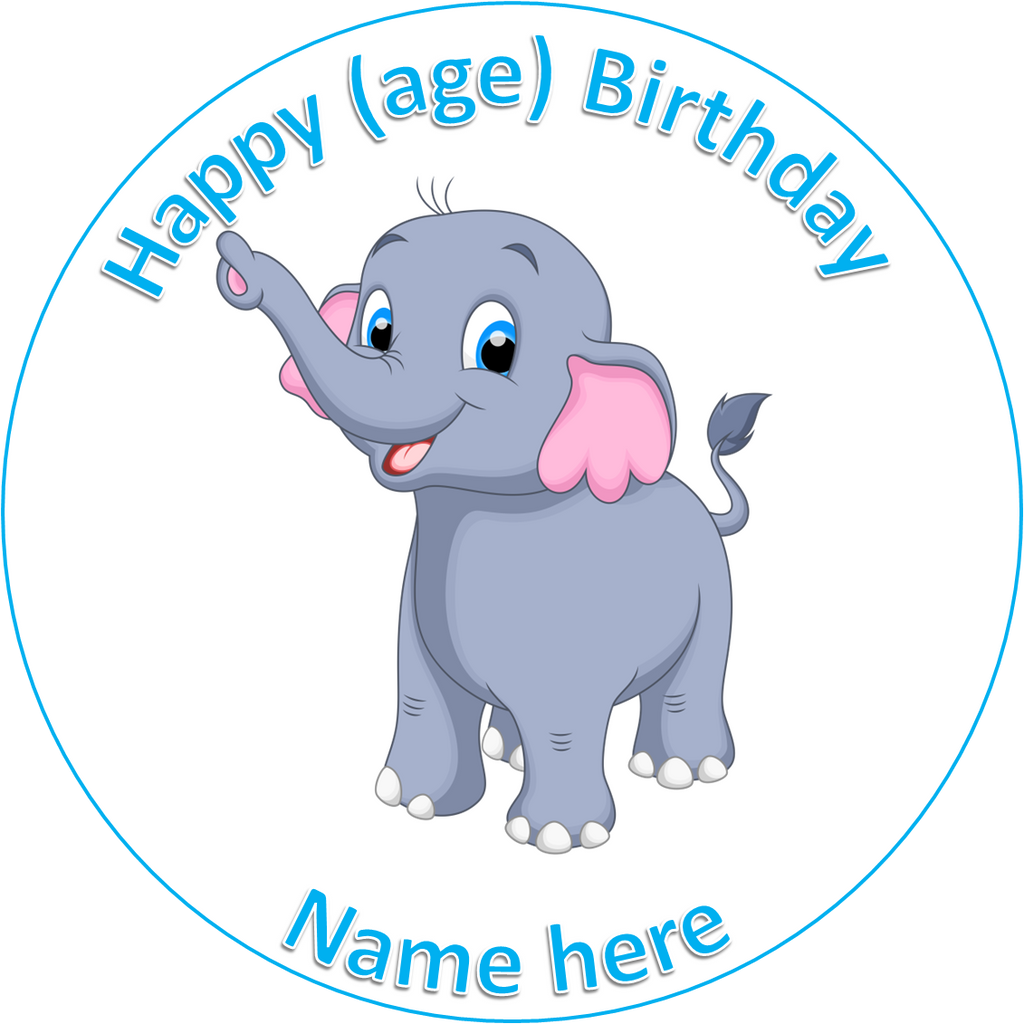 Elephant Animal cake Topper edible Icing sheet or Wafer paper
