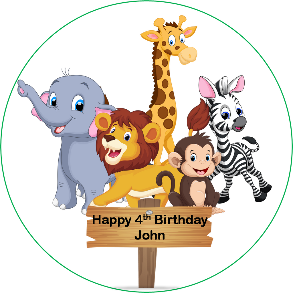 Safari Animals cake Topper edible Icing or Wafer paper