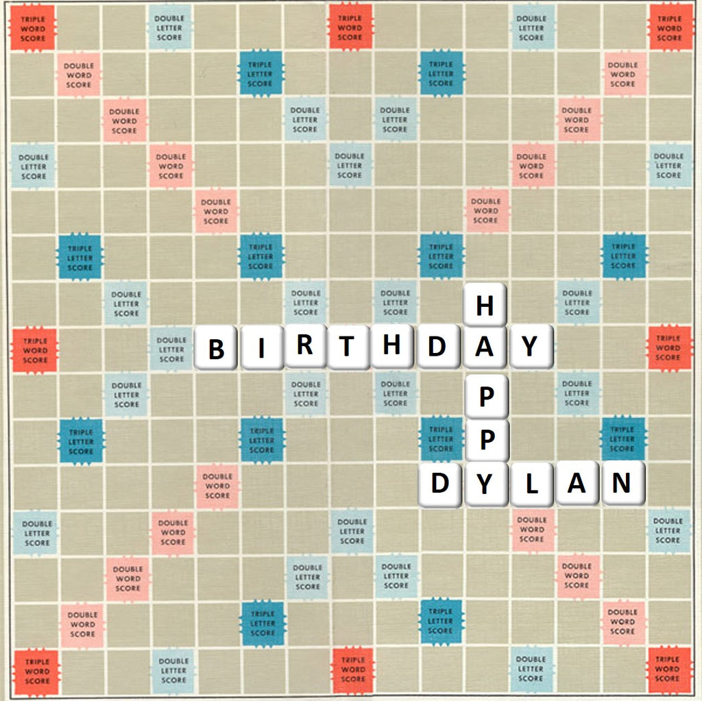 Scrabble board game personalised message cake Topper edible Icing or Wafer