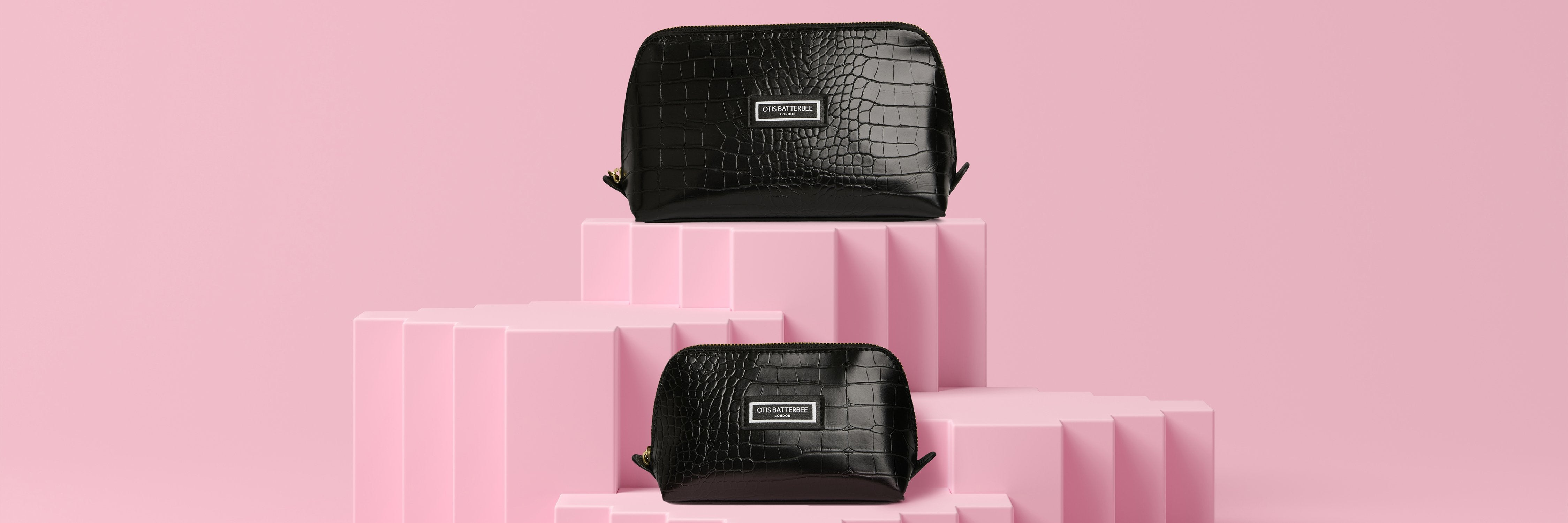 Duo Make Up Bag Gift Set in Mock Black Croc