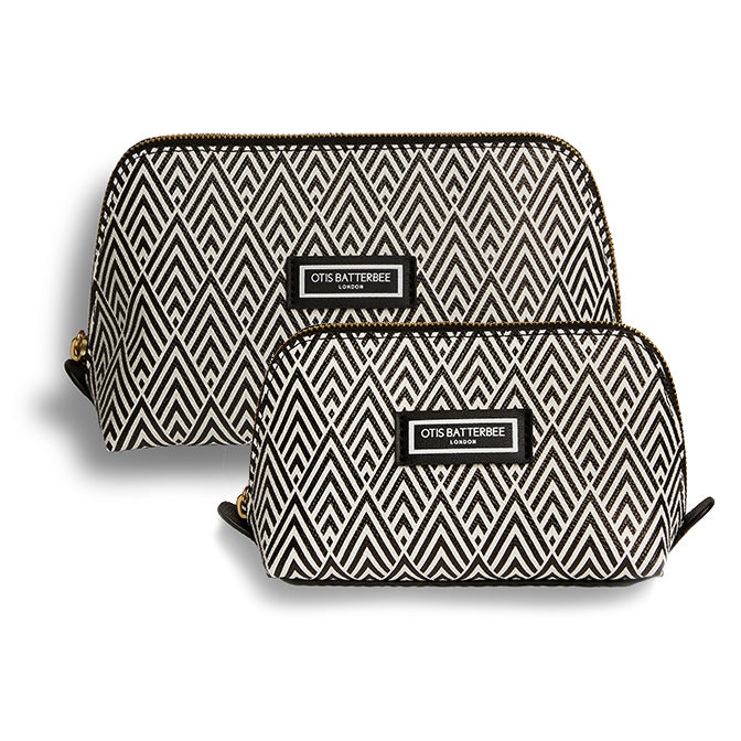 Duo Makeup Bag Set, Black Deco Print