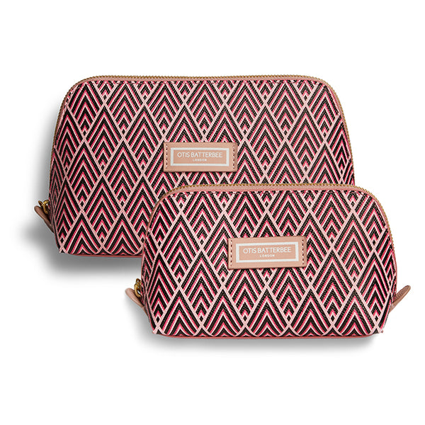Duo Makeup Bag Set, Cerise Deco
