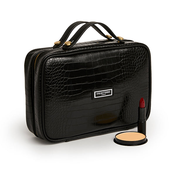 Luxury Toiletries Case, Black Croc with Beauty Products