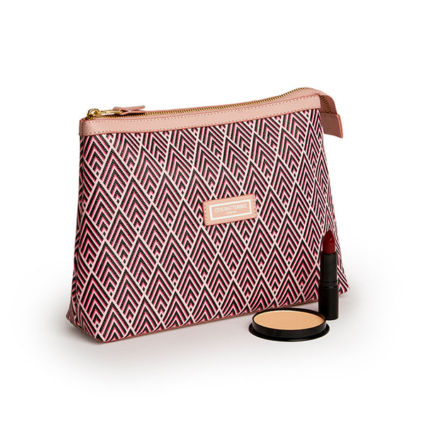 Essential Wash Bag, Cerise Deco with makeup