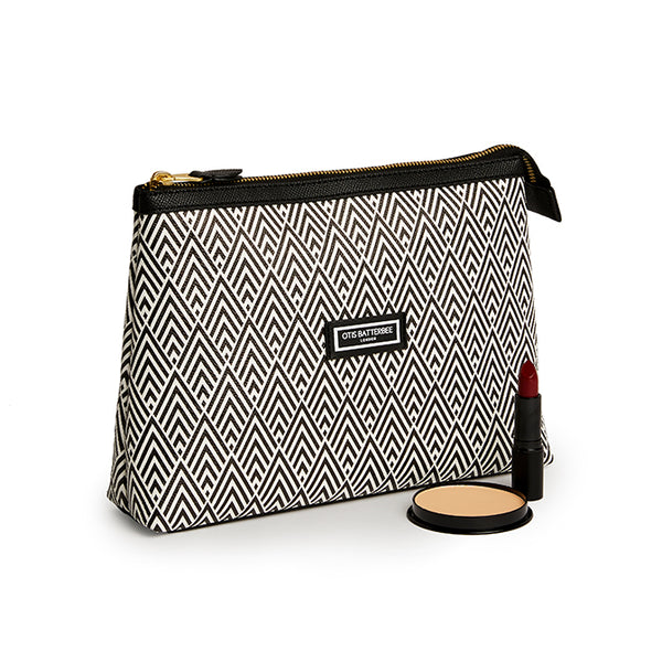 Essential Wash Bag, Black Deco with makeup