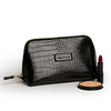 Large Beauty Makeup Bag, Black Croc with Beauty Products