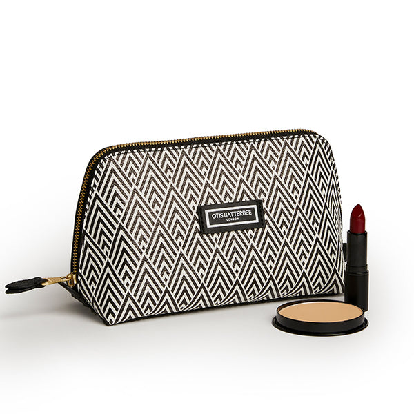 Large Beauty Makeup Bag, Black Deco with Beauty Products