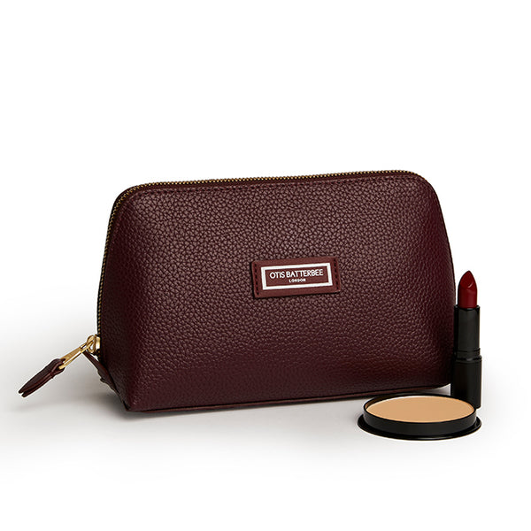Large Beauty Makeup Bag, Burgundy with Beauty Products