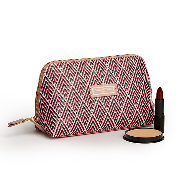 Large Beauty Makeup Bag, Cerise Deco with Beauty Products