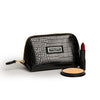 Small Beauty Makeup Bag, Black Croc with products
