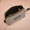 Small Beauty Makeup Bag, Black Deco, Inside