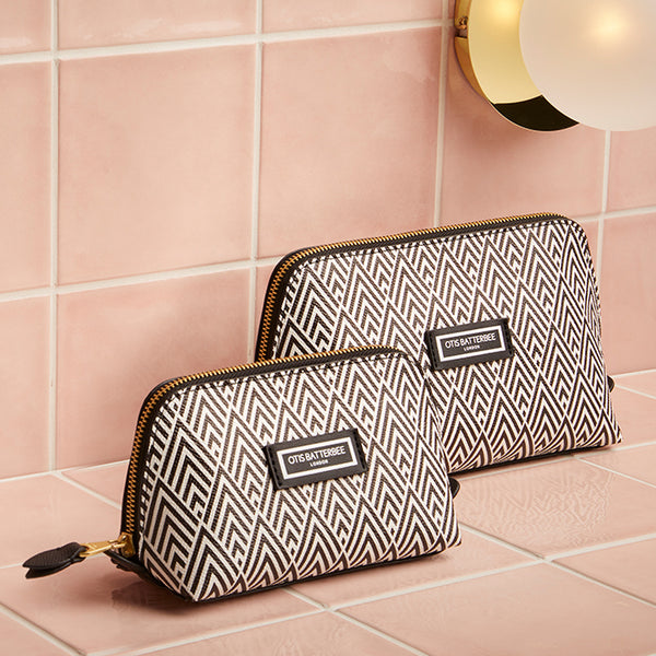 Duo Makeup Bag Set, Black Deco Print, Styled