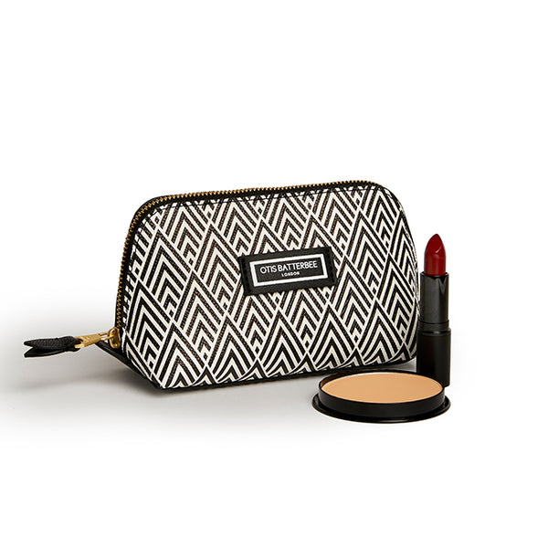 Small Beauty Makeup Bag, Black Deco with products