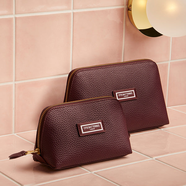 Duo Makeup Bag Set, Burgundy, Styled