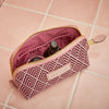 Small Beauty Makeup Bag, Cerise Deco, Inside Shot