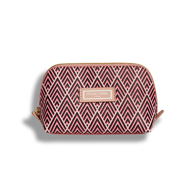 Small Beauty Makeup Bag, Cerise Deco