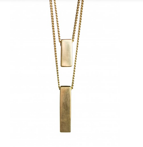 BRASS BAR PENDANTS NECKLACE - Liberty and Co. - Fair Trade- Ethically Sourced- Sustainable  Goods