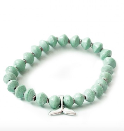 RECYCLED PAPER WHALE TAIL BRACELET - SEA FOAM GREEN - Liberty and Co. - Fair Trade- Ethically Sourced- Sustainable  Goods