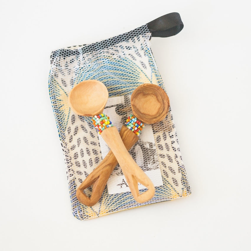 OLIVE WOOD BEADED SPOON SET - Liberty and Co. - Fair Trade- Ethically Sourced- Sustainable  Goods