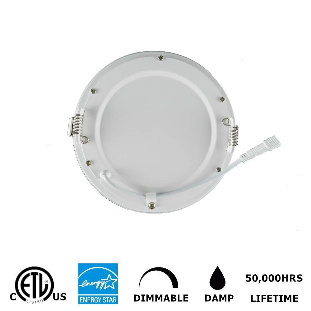 6inch 15w 1000lm recessed white led slim pot light panel light dimmable ceiling light with junction box