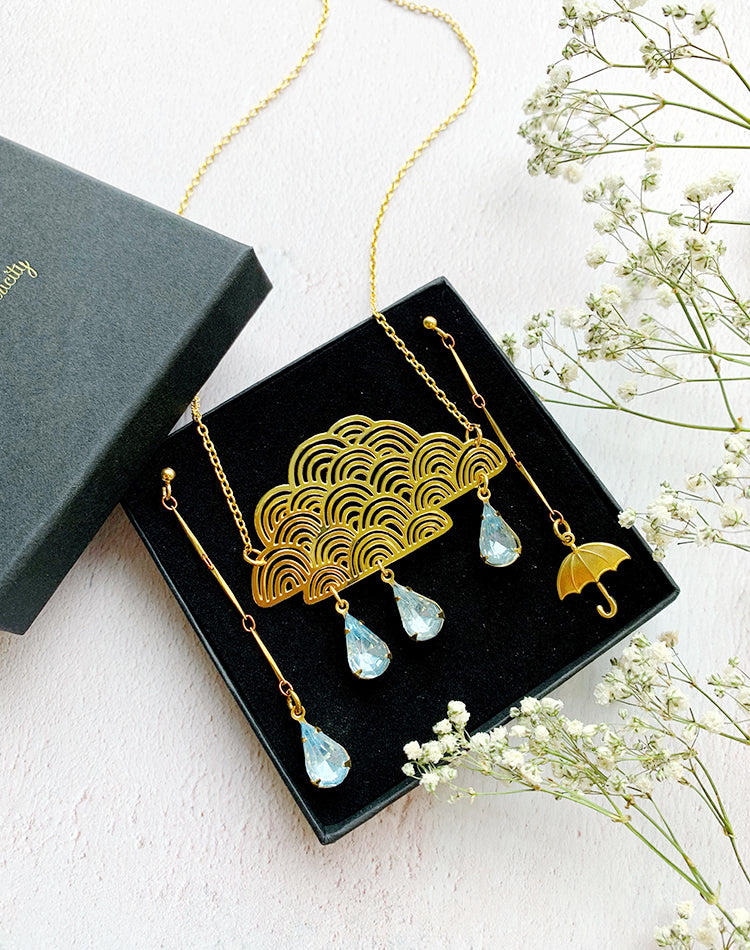 You Cannot Be Cirrus Cloud Necklace And Rainy Day Earrings Gift Set