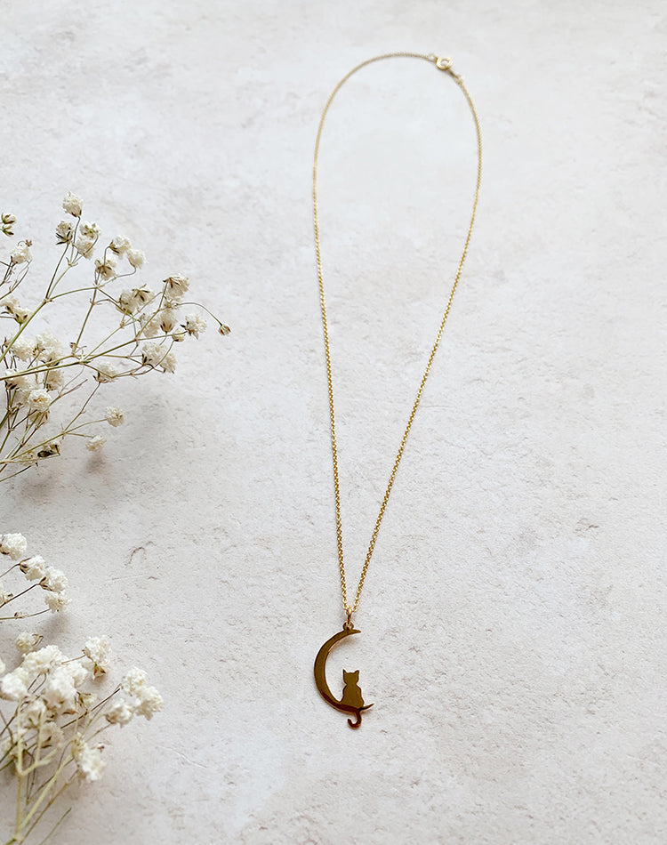 Cat In The Moon - Gold Fill or Sterling Silver Necklace
