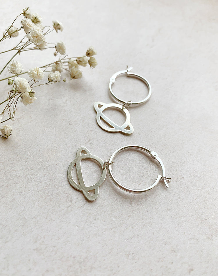 Saturn Planet Sterling Silver Hoop Earrings