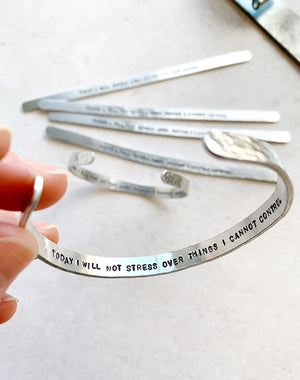 Affirmation 'Today I Will Not Stress' Mindfulness Bangle