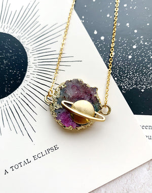 Voyager Aura Quartz Nebula Necklace