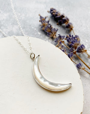Aega Sterling Silver Crescent Moon Necklace