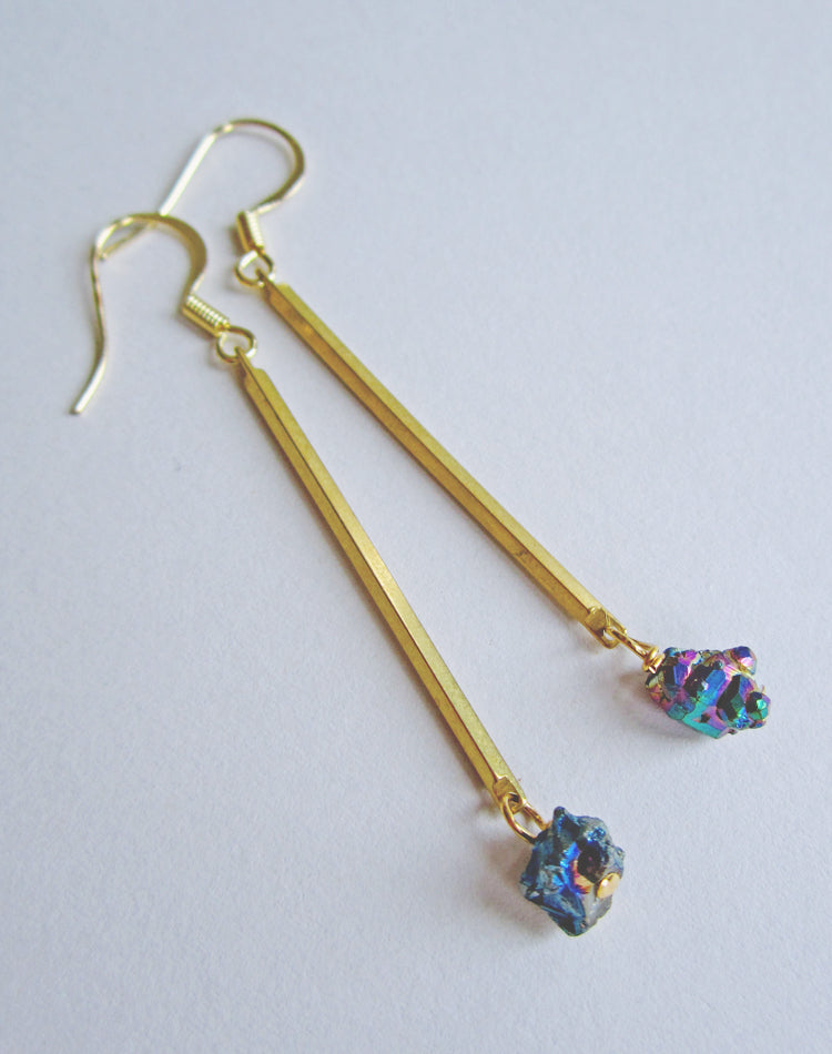 Andromeda Titanium Quartz Drop Earrings