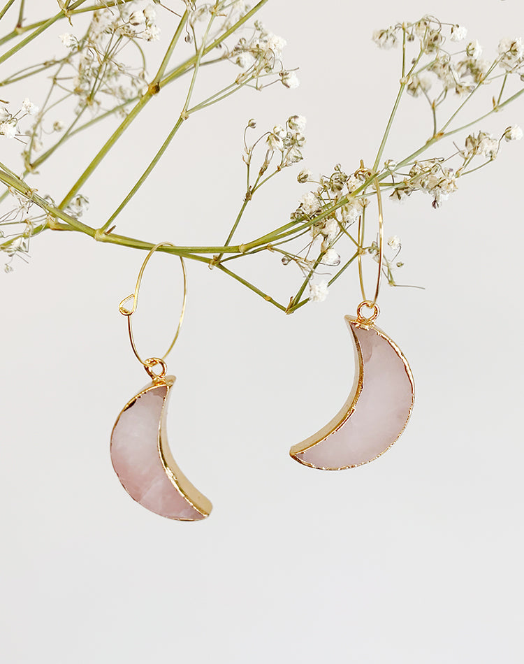 Arose Rose Quartz Moon Earrings