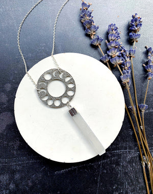 Aspect - Moon Phase Selenite Necklace