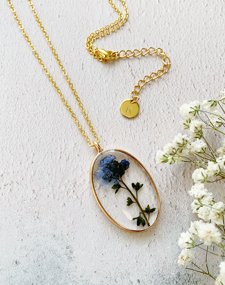 Forget Me Not - Pressed Flower Necklace
