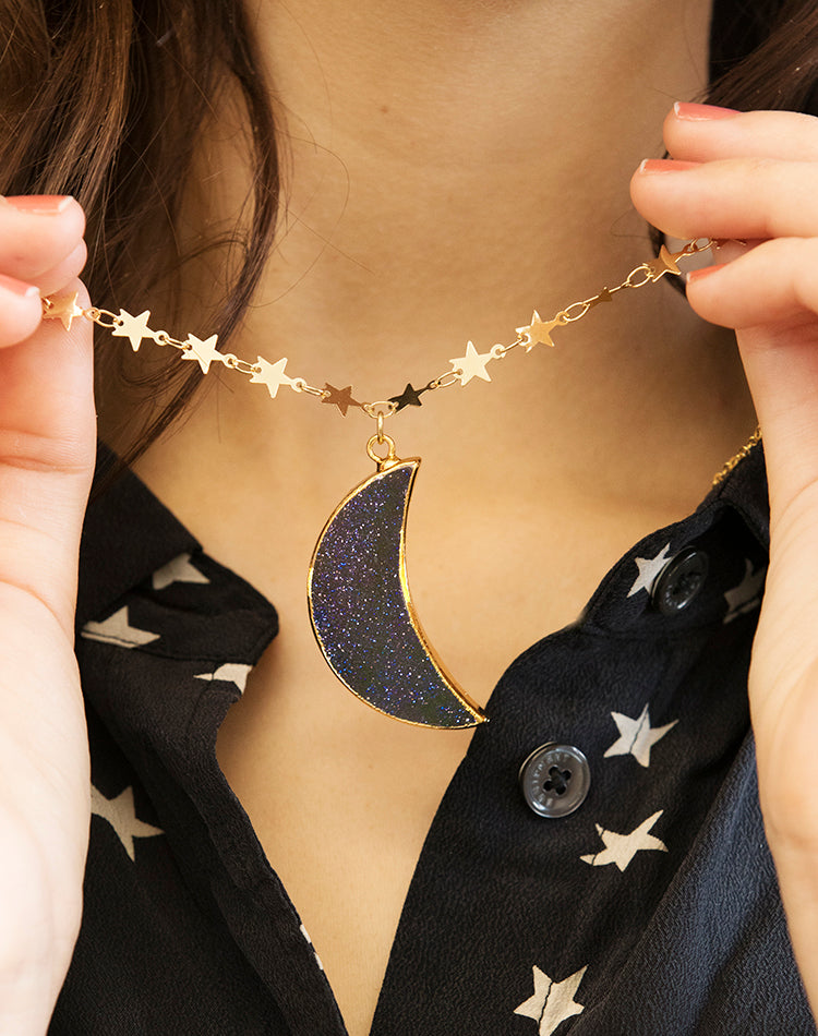Ward Goldstone Crescent Moon And Stars Necklace