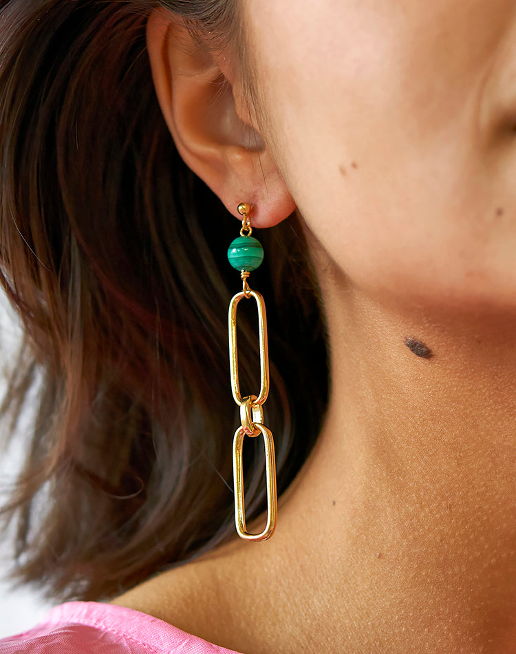 Lakshmi Malachite and Chain Earrings
