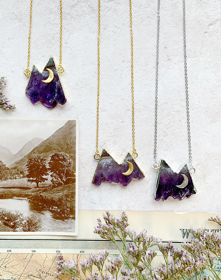 Nomad Personalised Amethyst Mountain Necklace