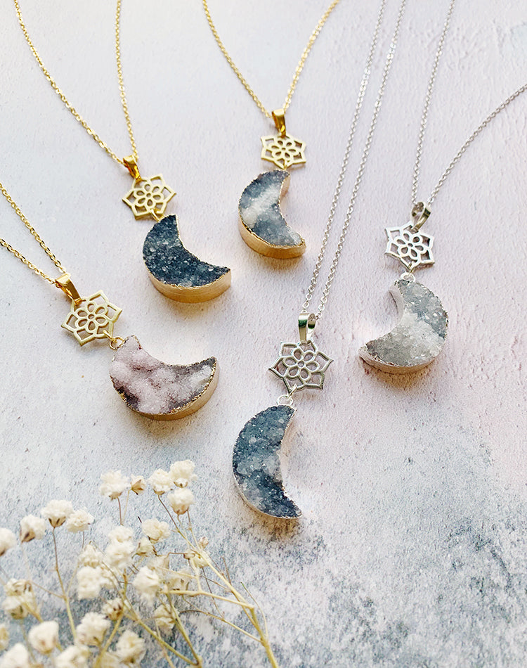 Night Flower Druzy Quartz Moon And Mandala Necklace