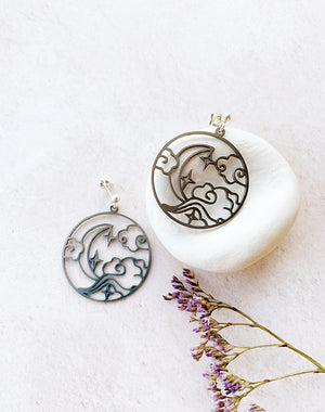 Phoebe - Silver Circle Moon and Cloud Cut Out Stud Earrings