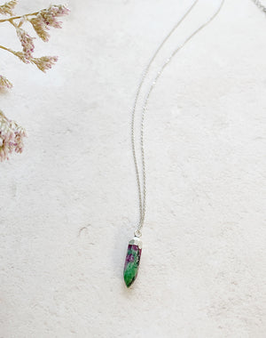 Rubi: Ruby in Zoisite July Birthstone Pendant