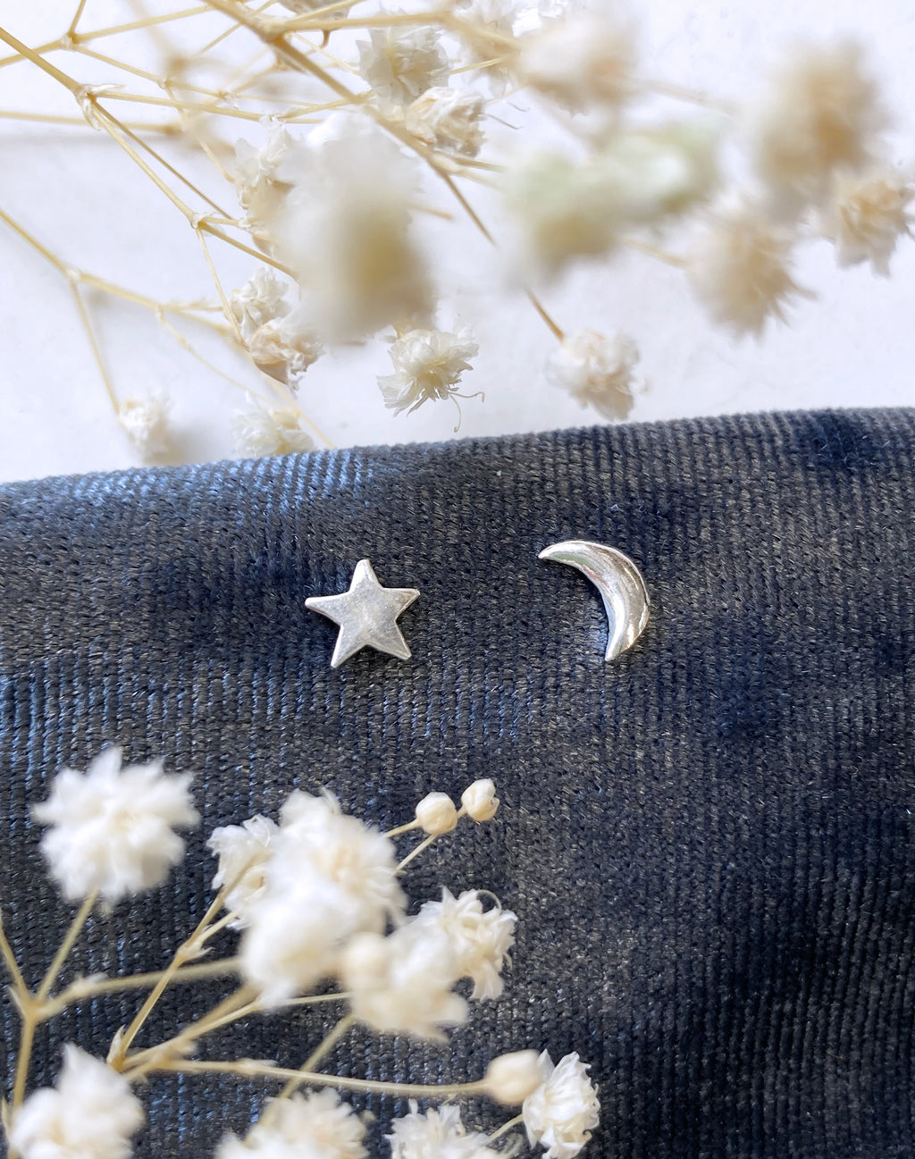 Sterling Silver Moon & Star Stud Earrings