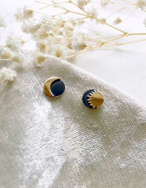 Sterling Silver and Bronze Sun & Moon Stud Earrings