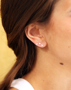 Sterling Silver Creeper Star Stud Earrings