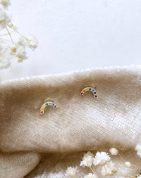 Sterling Silver Rainbow Stud Earrings