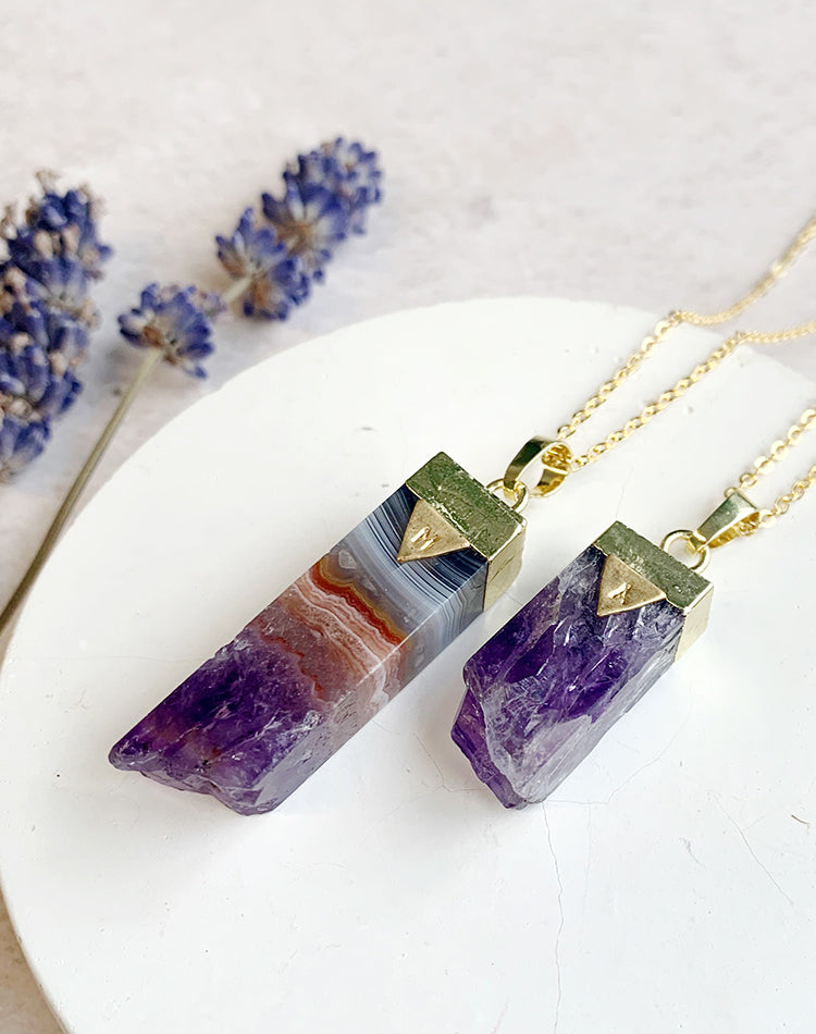 Taygete Personalised Amethyst Pillar Necklace